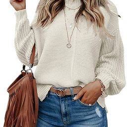 Imily Bela Womens Mock Neck Fall Sweaters Trendy Balloon Sleeve Slouchy Knit Pullover Jumper   Amazon (US)
