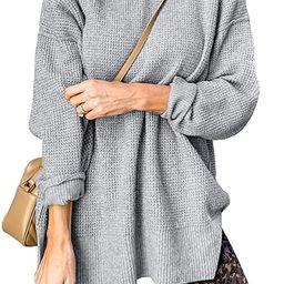 Quenteen Womens Mock Neck Pullover Sweaters Long Sleeve Side Split Waffle Knit Tops   Amazon (US)