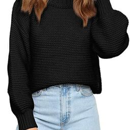 Coololi Women Mock Neck Oversized Sweaters Balloon Long Sleeve Casual Chunky Knit Pullover Jumper...   Amazon (US)