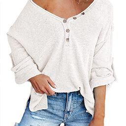 HAPCOPE Women's Batwing Sleeves V-Neck Button Knit Jumper Oversized Pullover Sweaters Tunic Henle...   Amazon (US)