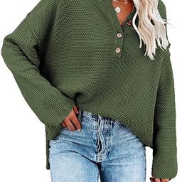 SHEWIN Women's Long Sleeve V Neck Button Knit Fall Pullover Sweaters Knit Jumper Tops   Amazon (US)