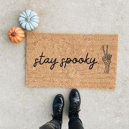 Stay Spooky Skeleton Peace Sign Doormat. Halloween Doormat. | Etsy | Etsy (US)