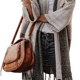 EXLURA Womens Color Block Cardigan Open Front Sweaters Loose Knit Casual Coat   Amazon (US)