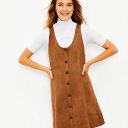 Faux Suede Button Pocket Dress | LOFT