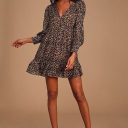 Rock It Out Brown and Black Leopard Print Babydoll Dress | Lulus (US)