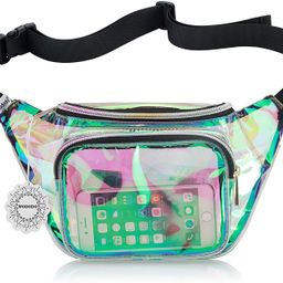 Shiny Neon Fanny Bag for Women Rave Festival Hologram Bum Travel Waist Pack (Clear Iridescent) | Amazon (US)