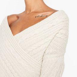 Off The Shoulder Cable Knit Jumper Dress | Boohoo.com (US & CA)