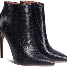 LEHOOR Women Stilettos Booties Pointed Closed Toe Side Zipper 5 Inch High Heel Ankle Boots Patent... | Amazon (US)