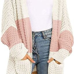 ZESICA Women's Long Batwing Sleeve Open Front Chunky Knit Cardigan Sweater | Amazon (US)