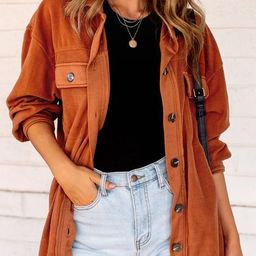 Ruby Rust Button Down Shacket   Shop Priceless