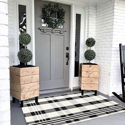 Black White Buffalo Plaid Rug Outdoor Doormat 3' x 5' Cotton Woven Checkered Rugs Machine Washabl... | Amazon (US)