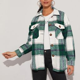 SHEIN Plaid Flap Pocket Overshirt | SHEIN