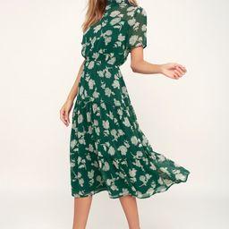 Floral Dressed Up Dark Green Floral Print Midi Dress | Lulus (US)