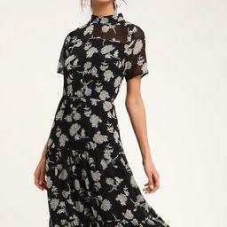 Floral Dressed Up Black Floral Print Midi Dress | Lulus (US)