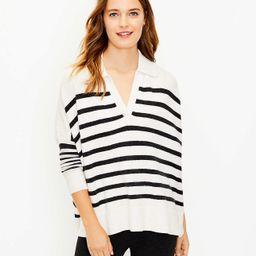 Striped Polo Poncho Sweater | LOFT