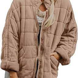 Womens Dolman Lightweight Quilted Jackets Zip Up Long Sleeve Stand Neck Warm Winter Outwears | Amazon (US)