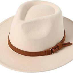 Lanzom Classic Fedora Hats for Women Lady Wide Brim Felt Panama Hat with Belt Buckle | Amazon (US)