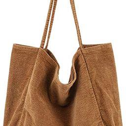 BOBILIKE Women Shoulder Bags Corduroy Bag Handbag Work Bags Schoolbag | Amazon (US)