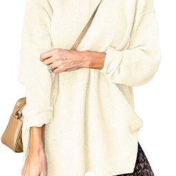 Quenteen Womens Mock Neck Pullover Sweaters Long Sleeve Side Split Waffle Knit Tops | Amazon (US)