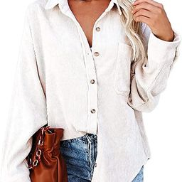 Women's Corduroy Button Down Pocket Shirts Casual Long Sleeve Oversized Blouses Tops | Amazon (US)