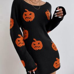 Halloween Pattern Sweater Dress | SHEIN