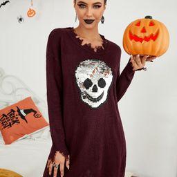 Sequin Skull Pattern Distressed Knit Dress   SHEIN