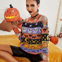 Halloween Pattern Drop Shoulder Sweater | SHEIN
