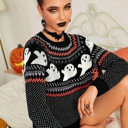 Halloween Pattern Raglan Sleeve Sweater   SHEIN