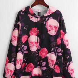 Skull And Floral Print Drawstring Hooded Sweatshirt   SHEIN