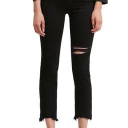 Ripped High Rise Straight Leg Crop Raw Hem Jeans   Nordstrom
