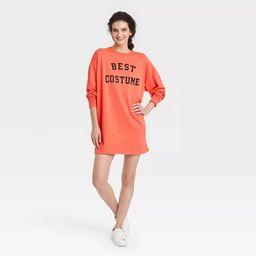 Women's Best Costume Long Sleeve Graphic Sweatshirt Dress - Orange | Target
