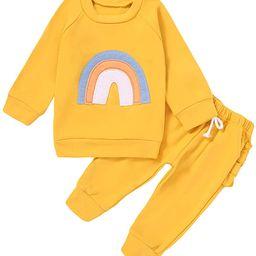 Infant Baby Girls Outfits Rainbow Print Sweatshirt Long Sleeve Pullover Shirt Tops Ruffle Pants F...   Amazon (US)