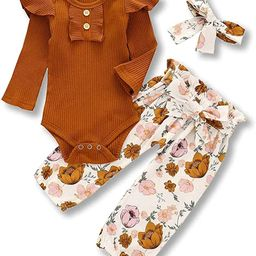 Newborn Baby Girls Ribbed Ruffled Romper+Floral Pants+Headband Infant Outfit Set | Amazon (US)