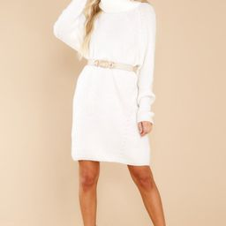 Shift In The Wind White Sweater Dress | Red Dress