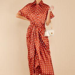 Brunch Date Rust Polka Dot Maxi Dress   Red Dress