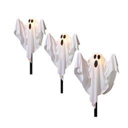 Way to Celebrate Halloween 3-Piece White Fabric Light-up Ghost Lawn Stakes, 15 Watts - Walmart.co... | Walmart (US)