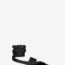 Culver Flat Sandals In Smooth Leather With Studs Black 8.5 | Saint Laurent