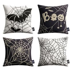 """Halloween Holiday Collection Embroidery Decorative Throw Pillow Cover, 18"""" x 18"""", Black and Beige... 