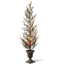 """46"""" Pre-lit Potted Black Glittered Artificial Halloween Tree – Warm White LED Lights/BO - Wal... 