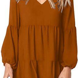 Amoretu Women Summer Tunic Dress V Neck Casual Loose Flowy Swing Shift Dresses | Amazon (US)