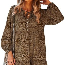 UIMOJ Women's Casual Lantern Long Sleeve Casual Tunic Dress Ruffle Hem Chiffon Beach Dresses for ... | Amazon (US)