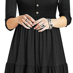 Sureple Casual Dresses for Women Fall Button Down Mini Skater Pleated Loose Swing Ruffle Dress wi... | Amazon (US)