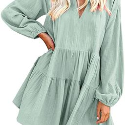 FANCYINN Long Sleeve Shift Tunic Dress Ruffle Swing Babydoll Juniors Mini Ruffle Dress with Pocke... | Amazon (US)
