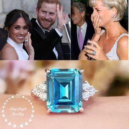 Statement aquamarine ring, emerald cut 8 carats (12×10mm) lab made aquamarine, similar design to... | Etsy (US)