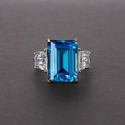 LAVISH design blue topaz Ring, Sterling Silver Cocktail Ring, Engagement ring, Wedding Anniversar... | Etsy (US)