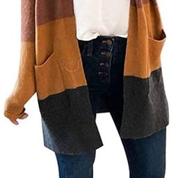 Womens Long Sleeve Casual Striped Cardigan Color Block Knit Open Front Sweater Coat…   Amazon (US)