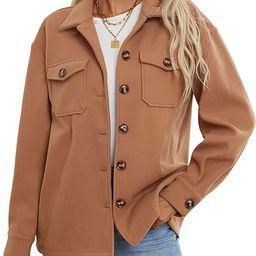 Womens Plaid shacket Jacket thick oversize Button down long sleeve Shirt Blouse Cotton Winter War... | Amazon (US)