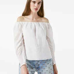 Off The Shoulder Billow Top -- Blanc   Frame Denim