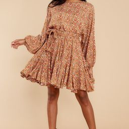 Touch Of Kindness Rust Floral Print Dress   Red Dress