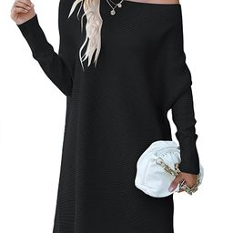ANRABESS Women's Off Shoulder Boat Neck Long Batwing Sleeve Casual Loose Oversized Pullover Tunic... | Amazon (US)